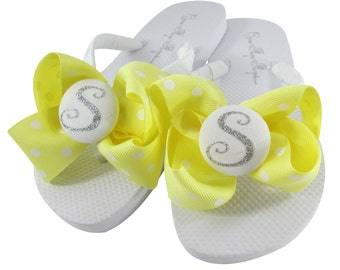 Yellow Maize & Silver Glitter Flip Flops with Bows and Personalized for Ladies and Girls. Many Colors