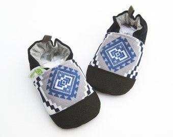 Classic Vegan Tribal in Blue /  Non-Sip Soft Sole Baby Shoes / Made to Order / Babies Toddlers Preschool