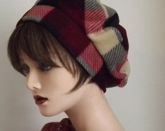 Ladies Warm Burgundy Plaid Fleece Hat