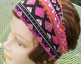 EXTRA WIDE Stretch Headband Womens BIKER Cancer Helmet liner Dreadlock Hairband