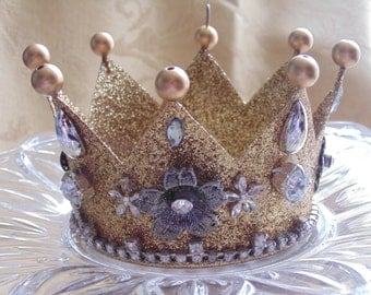 Golden Glitter Rhinestone Embellished Crown Decor Ornament