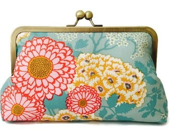 Floral Clutch purse, bridesmaid, wedding, birthday, summer clutch, bridal party gift,