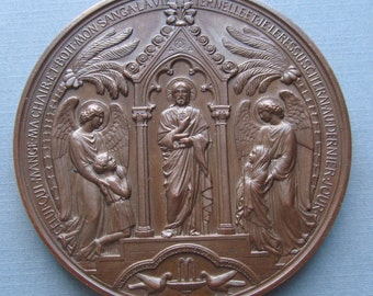 Baptism, Communion and Confirmation Antique French Religious  Medal with Jesus and Angels