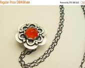 EASTER SALE Orange carnelian silver flower necklace - romantic pendant - small flower pendant - artisan crafted
