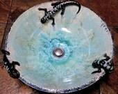 "READY TO SHIP Three Salamander Sculptural Turquoise Beige Tan Black Crystalline Glazed Vessel Sink 15"" Diameter"
