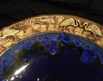 "MADE TO ORDER Relief Heron and Fish On Leaf Texture Boader Color Your Choice Crystalline Glazed Handmade Vessel Sink Up to 16"" in Diameter"