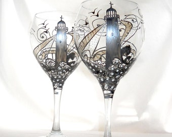 Pewter Silver Lighthouse Wine Glass Hand Painted Glassware Pewter Wine Goblet