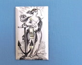 Nautical Anchor Light Switch Plate - Anchor Goddess switch plate - Beach House Decoration - Single Toggle Switch Plate - Nautical Bathroom