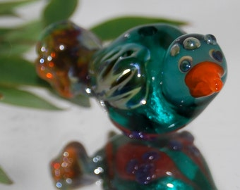 Zazu focal Lampwork bird bead