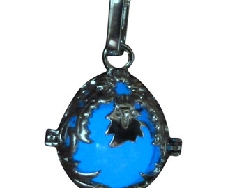 yOUR unIQue Dragon Egg Blue glow in the dark necklace