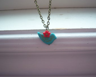 Turquoise Bird And Red Flower Neclace- Bird Necklace - Woodland Necklace - Free Gift With Purchase