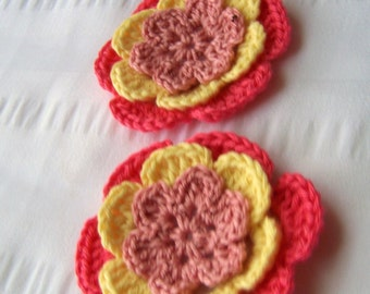 Flower crochet motif 2.5 inch cotton pink yellow