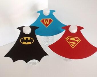 Superhero Water Bottle Capes, Water Bottle labels, Superhero Birthday Party, Batman, Superman