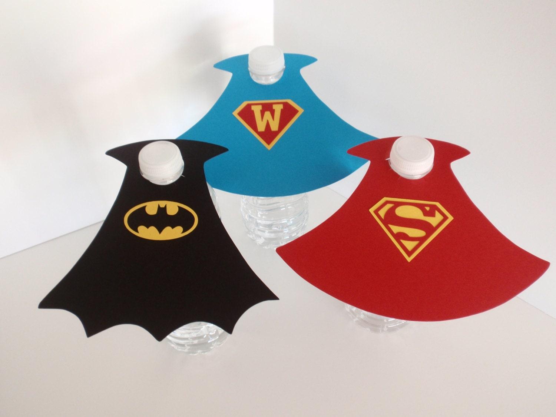 Superhero Water Bottle Capes Water Bottle labels Superhero