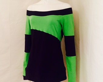 Cyber Slant •  Top • Shirt • Long Sleeves • V2 • Neon Green • Black •Custom Size • Small / Medium / Large / XL