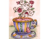 A Cup of Rose Tea Miniprint
