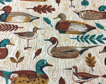 "60s Vintage ""Birds of a Feather Stick Together""/Wild Fowl/Mallards/Ducks/Mustard Wood Grain/White Ground"