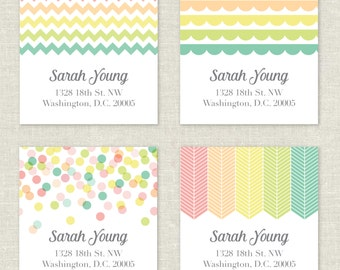 Personalized Return Address Labels Rainbow Pastel Colors Stickers