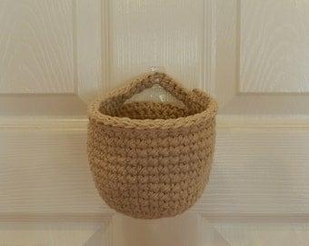 Crocheted Hanging Basket/ Small Crochet Basket/ Linen Crocheted Hanging Basket