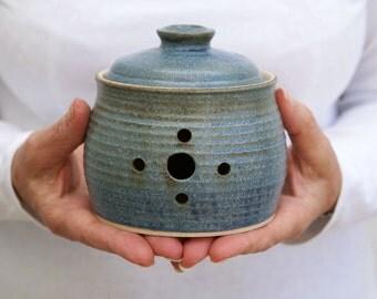 Wheel thrown stoneware pottery garlic jar - glazed in smokey blue