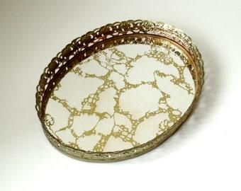 Ornate Oval Gold Filigree Vanity or Dresser Mirror - Shabby Vintage