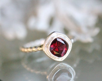 Genuine Rhodolite Garnet Sterling Silver Ring, Gemstone Ring, Cushion Shape Ring, Eco Friendly, Stacking Ring - Made To Order