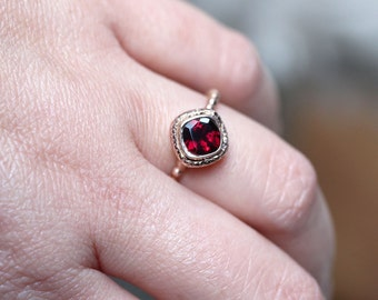 Genuine Rhodolite Garnet 14K Gold Ring, Gemstone Ring, Cushion Shape Ring, Eco Friendly, Engagement Ring, Stacking Ring - Made To Order
