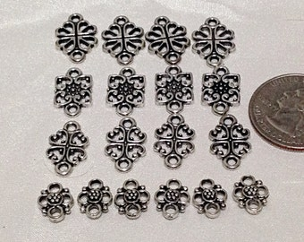 Silver filigree spacer bead charm mix