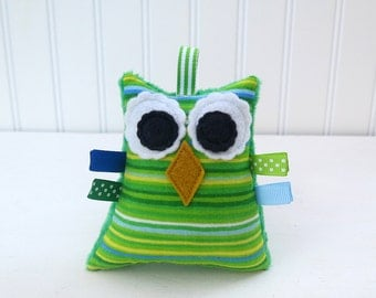 Owl Plush Rattle Baby Toy Stuffed Minky Owl Green Blue Ready to Ship