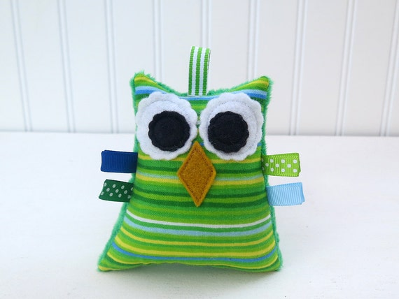 Owl Plush Rattle Baby Toy Stuffed Minky Owl Green Blue Ready to Ship