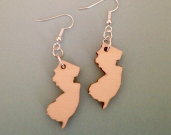 Wooden New Jersey Earrings - NJ Shape Jewelry - State Earrings - Lasercut Wood