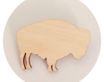 Bison Brooch - Buffalo Brooch Pin - Animal Shape Pin - Lasercut Wood - Southwestern Style - Boho Chic