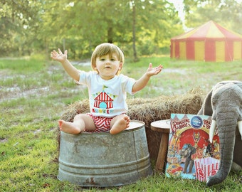 Circus Tent Bubble Shorts Outfit - Circus Shirt - Bubble Shorts - Circus Birthday - Baby Boy Birthday - Circus Tent Shirt - First Birthday