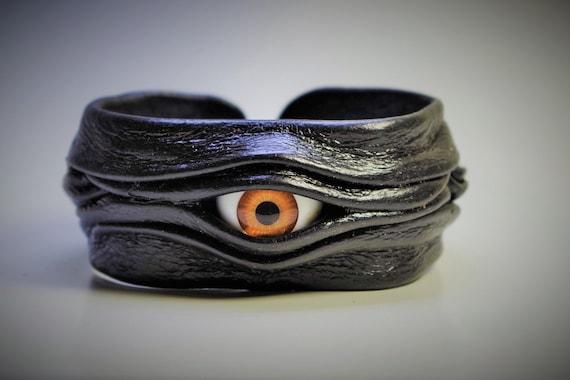 Evil eye adjustable black leather bracelet cuff bangle