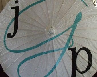 Wedding Parasol Custom Monogram Umbrella White Ivory Photography Prop Wedding Ceremony Decoration Bride Groom Initials