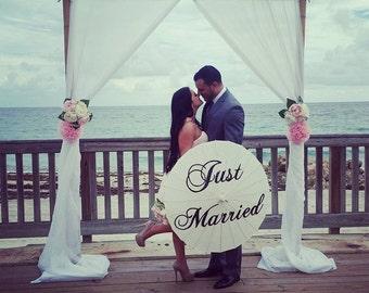 Just Married Parasol Umbrella Custom Wedding Ceremony Decoration White Ivory Photography Prop Beach Wedding Decor