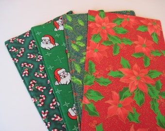 Christmas Toilet Tank Runner Santa and Candy Cane Toilet Tank Topper Green Holly and Red Poinsettia Toilet Tank Cover Christmas Bath Decor