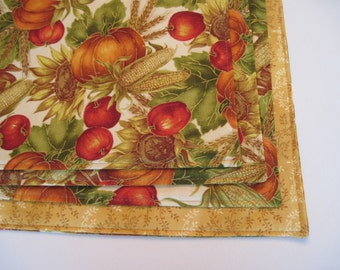 Fall Harvest Placemats Set Reversible Thanksgiving Placemats Apples and Pumpkins Placemats Autumn Placemats Fall Leaves Placemats