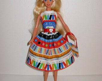 Handmade barbie clothes, CUTE back to school dress and bag 4 barbie doll