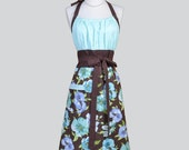 Cute Kitsch Retro Aprons - Full Kitchen Vintage Womans Apron in Mocha Brown and Mint Blue Floral Handmade Hostess Cooking Chef Womens Aprons