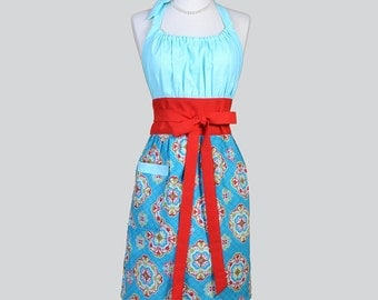 Cute Kitsch - Retro Apron in Turquoise Blue and Red Spanish Tile Damask Ideal for Cooking or Cleaning or as a Hostess or Housewarming Gift