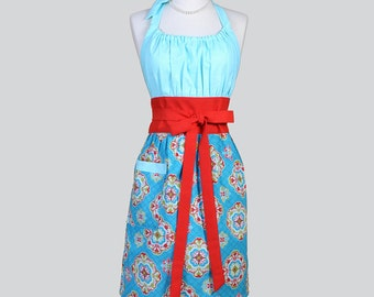 Cute Kitsch Retro Aprons - Full Vintage Kitchen Womens Apron in Ocean Blue Teal and Red Damask Handmade Hostess Cooking Chef Womans Apron