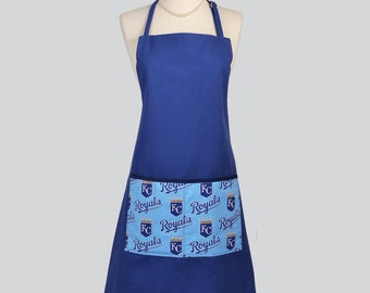 Chef Apron / His or Hers Unisex KC Royals Tailgating or Kitchen Cooking Apron in Prewashed Royal Blue Canvas Large KC Royal Pocket