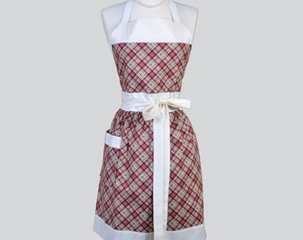 Full Womens Aprons , Cute Vintage Kitchen Cooking Plum Green and Ivory Plaid Check Retro Chef Hostess Womans Apron Personalize