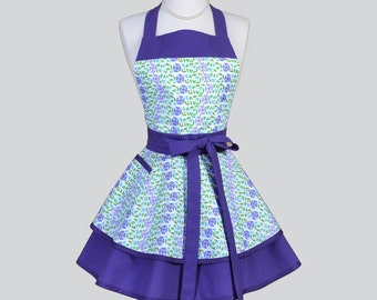 Ruffled Retro Aprons . Cute Full Flirty Kitchen Cooking Womans Apron Purple Aqua Enchanting Garden Flowers Vintage Womens Aprons Personalize