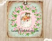 3 Pink Aqua Santa Tags / Pink Roses / Grungy Distressed / Retro Vintage Christmas / Favor Bag Gift Tags Label Ornament / 3 DayShip (ref-ts)