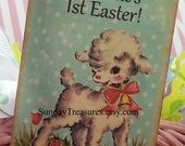 6 PAK Vintage Happy Easter Tags / Adorable Vintage Lamb / Baptism / Favor Gift Basket Tag / Gift Box Tag / Customize Text / 1-2 Day Ship