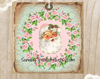 3 Pink Aqua Santa Tags / Pink Roses / Grungy Distressed / Retro Vintage Christmas / Favor Bag Gift Tags Label Ornament / 3 DayShip (ref-ts)