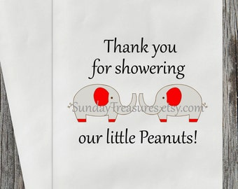 12 PAK TWINS ELEPHANT Baby Shower Candy Buffet Party Favor Cookie Bags / Thank You for showering our Peanuts / Red /  3 Day Ship