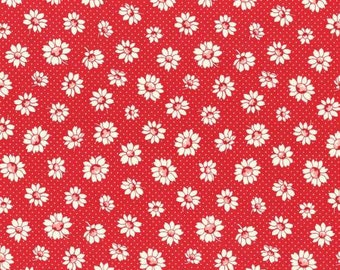 Retro 30's Child Smile Spring 2016 Collection Cotton Fabric Lecien 31281-30 Daisy Flowers on Red